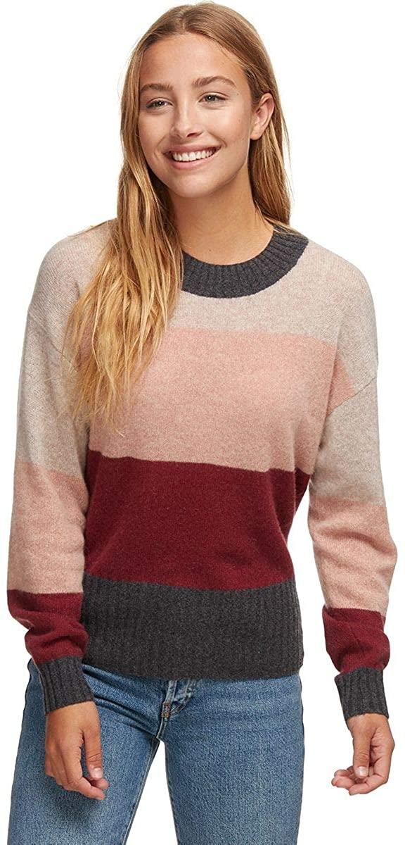 White + Warren Block Stripe Crewneck Sweater - Women's