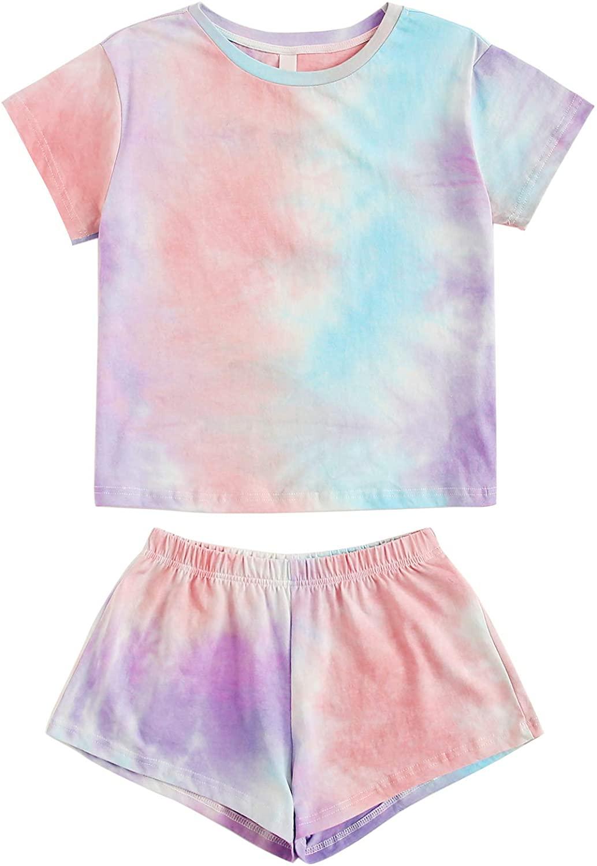 DIDK Women's Tie Dye Round Neck Short Sleeve Tee and Shorts Pajama Set