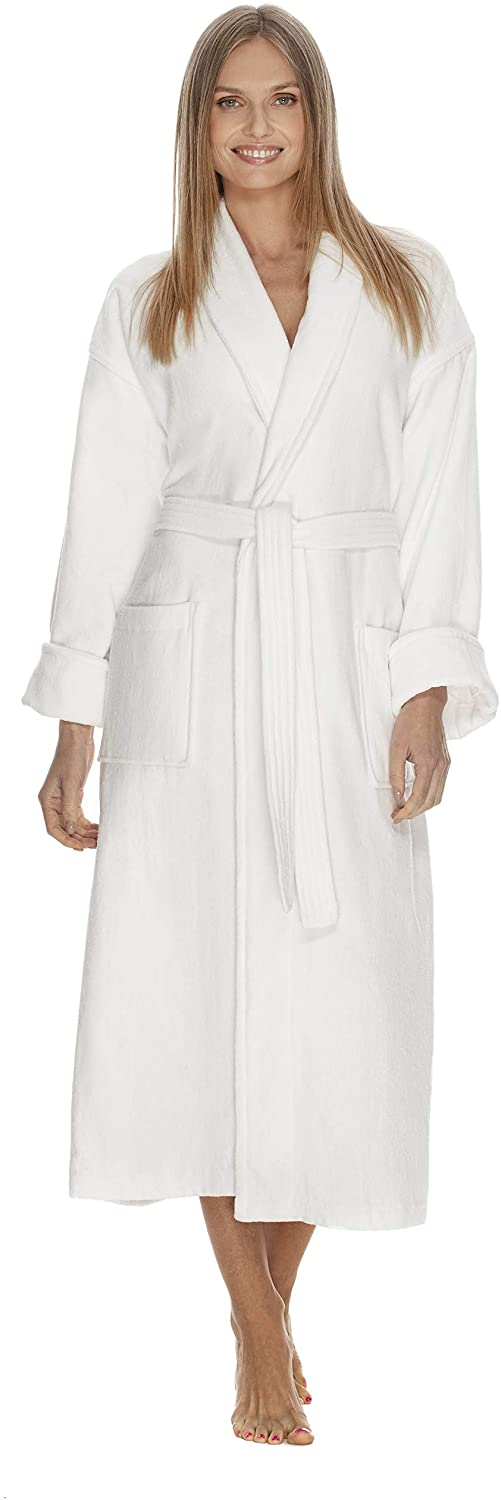 Boca Terry Womens Robe - 100% Cotton Shawl Collar Velour Bathrobe for Women - Medium, Large - White