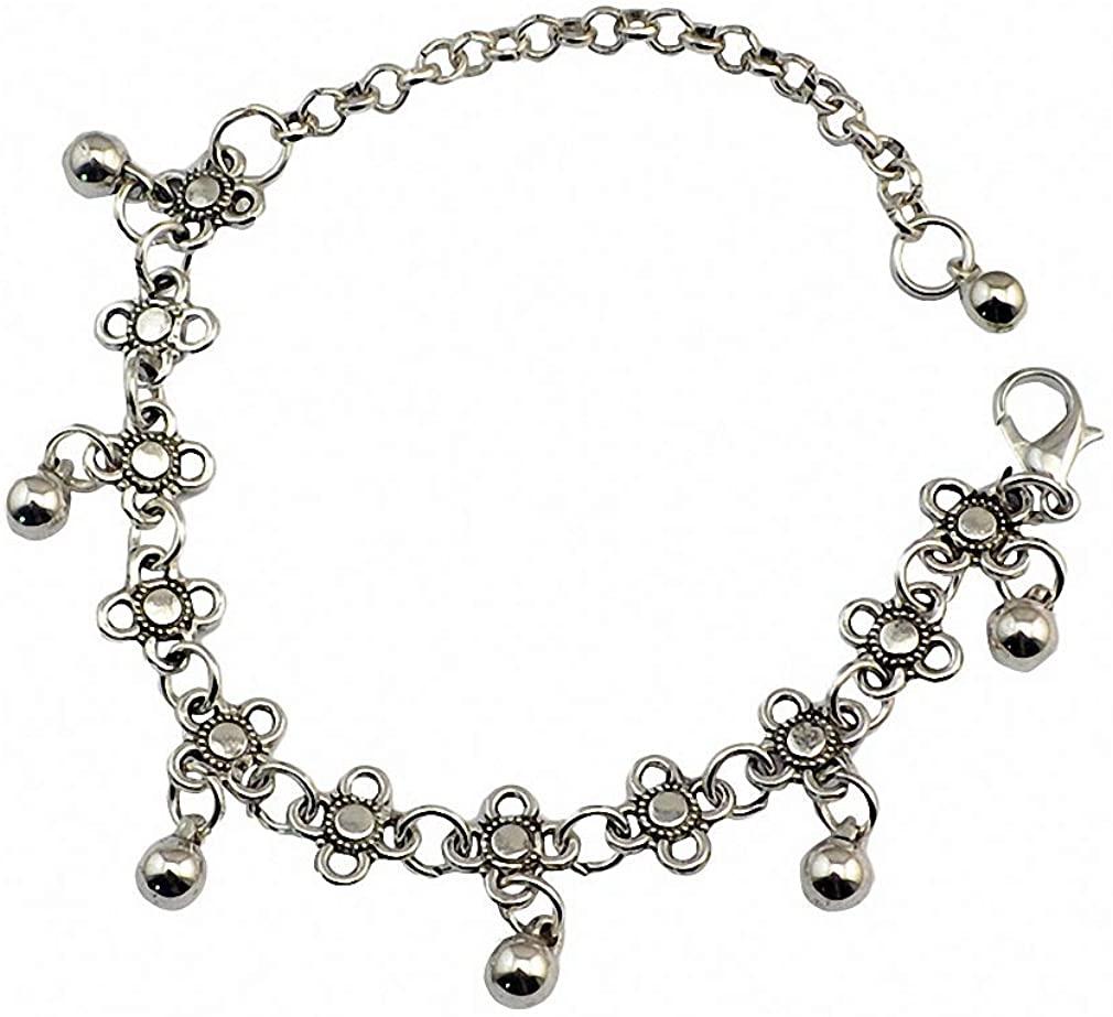 Hynsin Summer Style Bohemian Tribal Boho Silver Coin Anklet Ankle Bracelet Boho Foot Jewelry