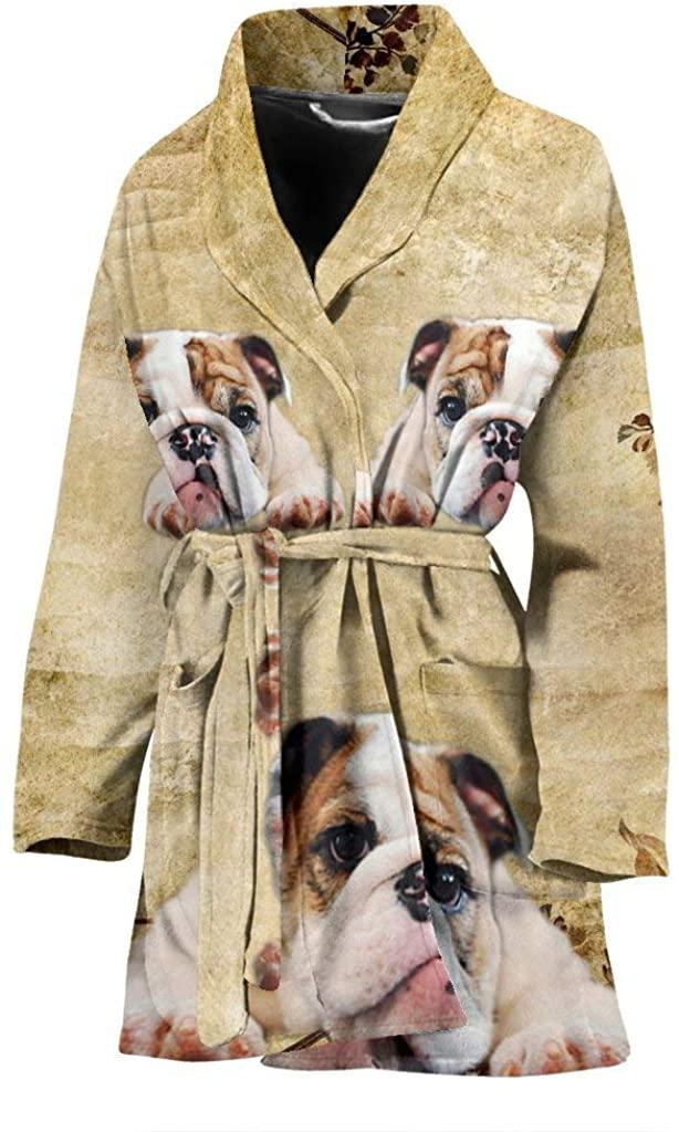 Bulldog Print Women's Bath Robe