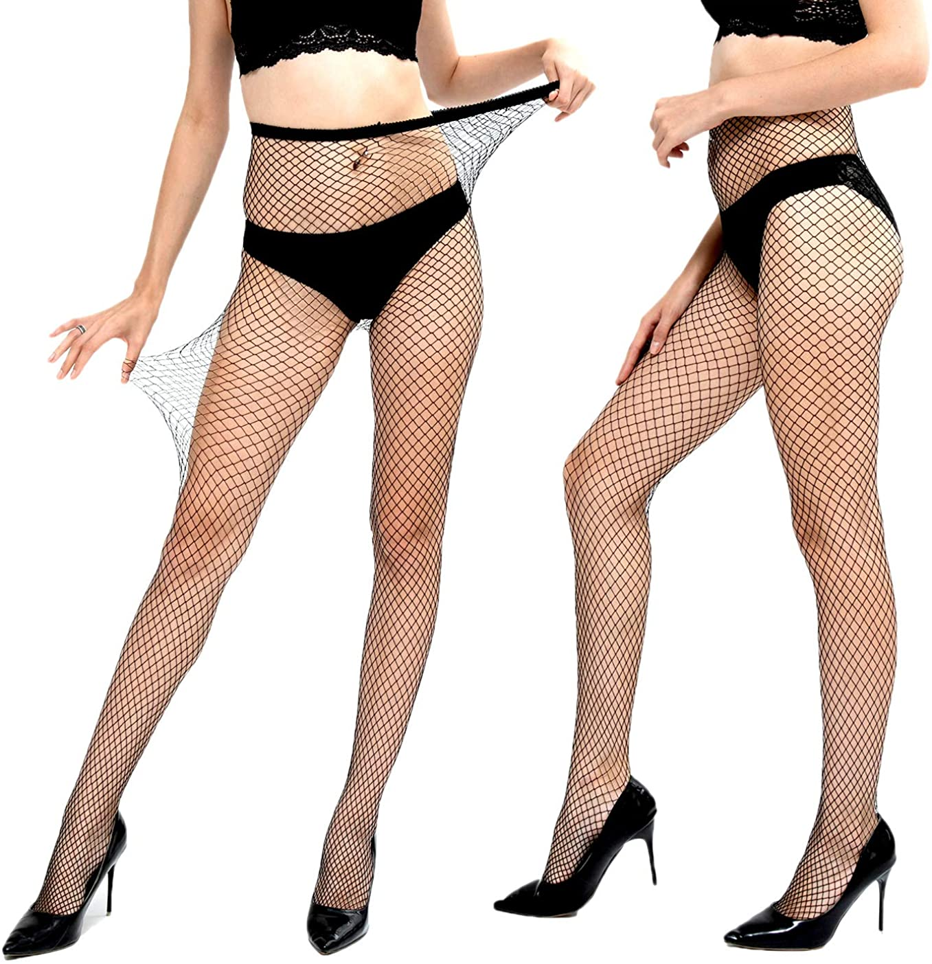 Women's 2 Pairs Fishnet Stockings Mesh Hollow Out Fishnet Pantyhose Tights of MISSGGBOND