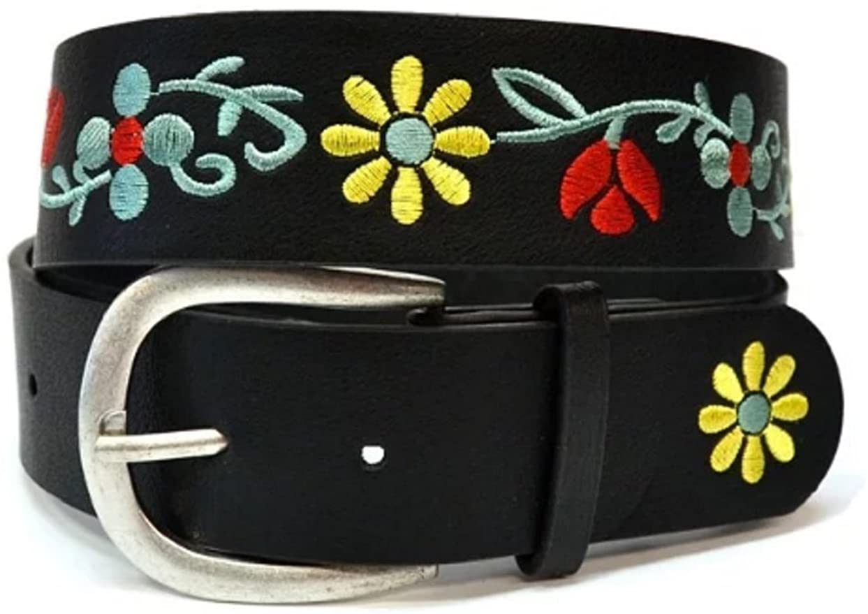 Love My Seamless Womens Ladies Girls Accessories Multicolor Floral Embroidery Jean Belt
