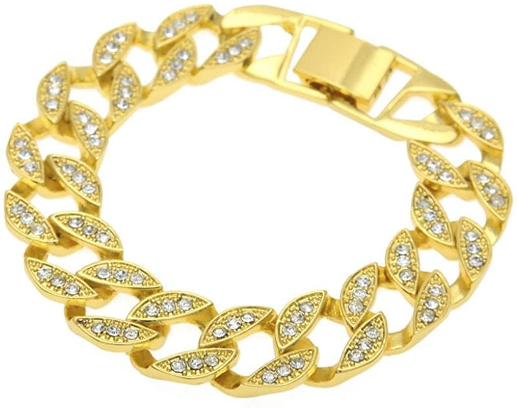 Leyorie Hip Hop Bracelet Men Women Jewelry Bling Rhinestone Crystal Chain Bangle Wrist Cuff Fashion