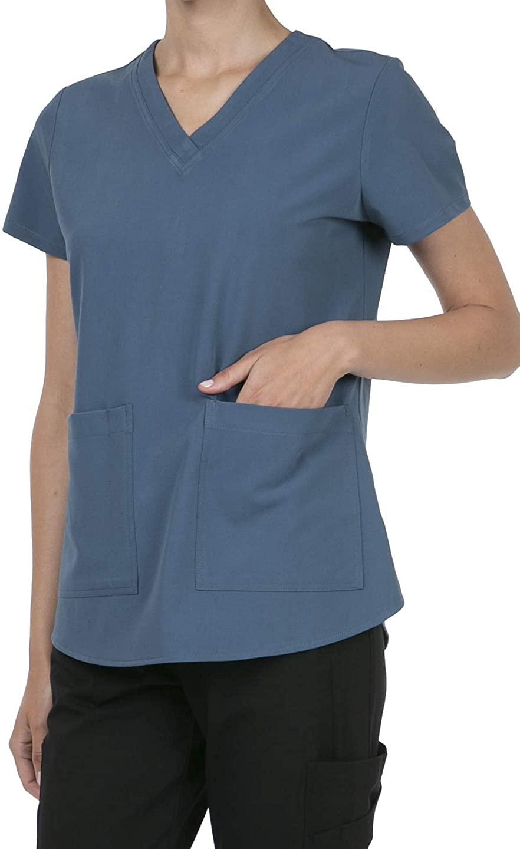 8070 Women's Uniform Scrubs Medical V-Neck Scrub Top with Back Shirring DK.Denim 3XL