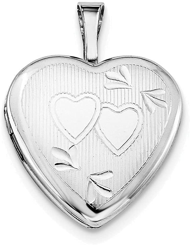 Finejewelers Sterling Silver 16mm D/c Double Hearts Heart Locket Necklace