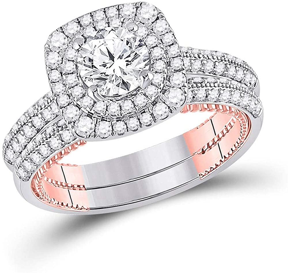 Dazzlingrock Collection 14kt Two-tone Gold Round Diamond Bridal Wedding Ring Band Set 1-7/8 Cttw