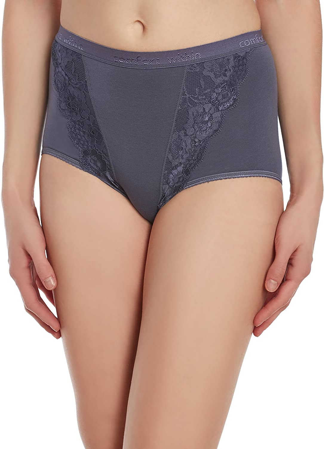 Comfort Within Women's Lace Panty Briefs -Panties, Soft Cotton Underwear