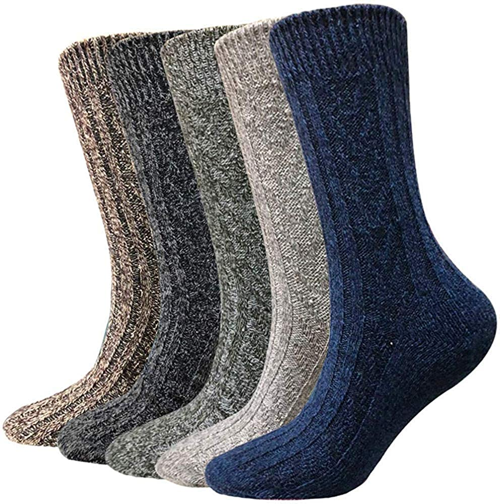 5 Pairs Men And Women Wool Cozy Crew Socks - Thick Knit Winter Warm Vintage Style Socks gifts