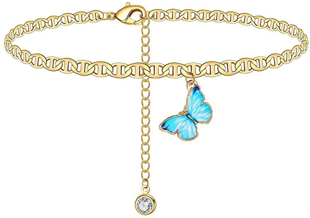 The Belchers Dainty Butterfly Anklet Adjustable Leg Chain Beaded Layered Ankle Bracelets Crtstal Pendant Sandals Boho Bohemian Beach Animal Foot Jewelry for Women Girls