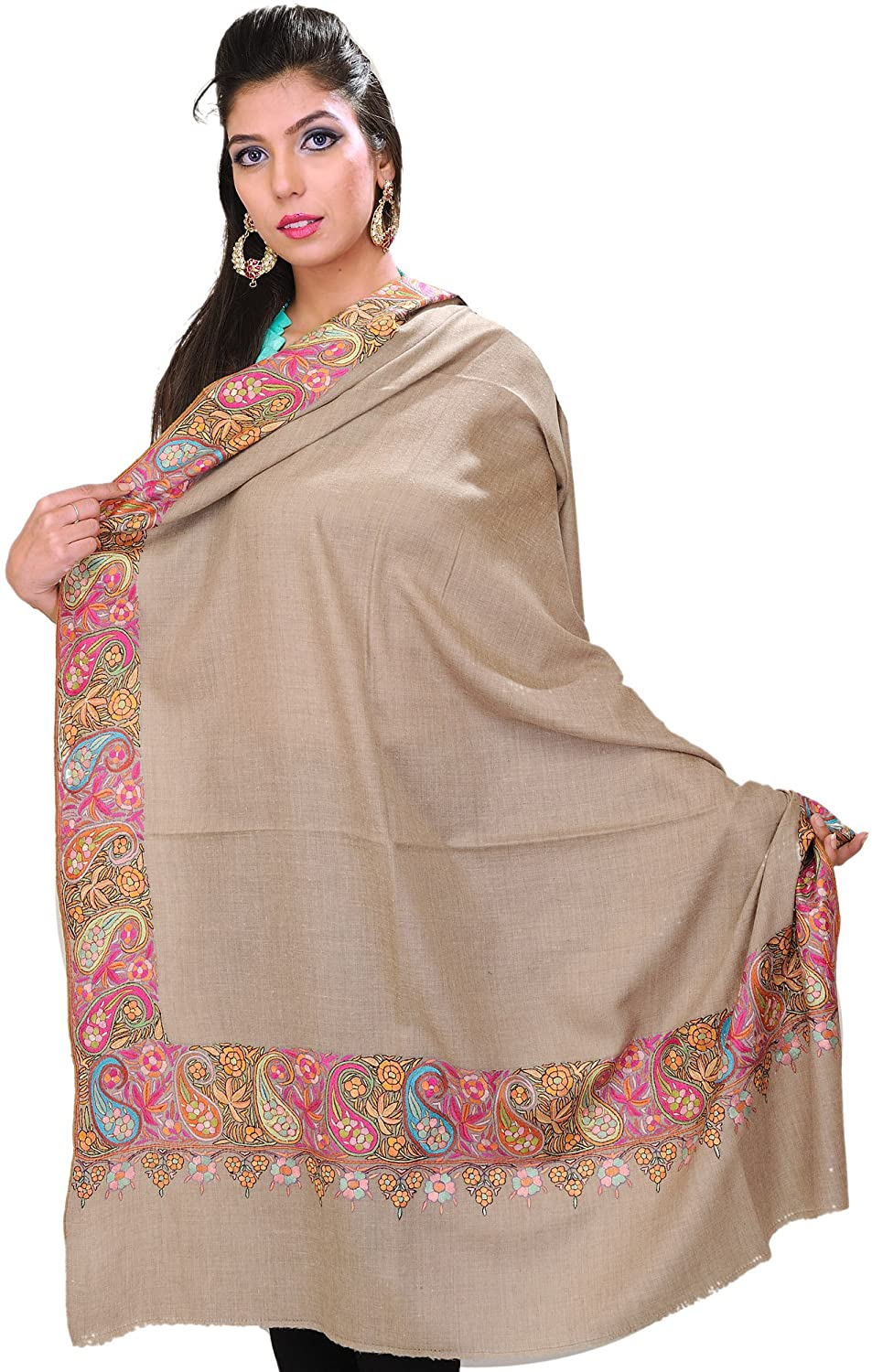 Exotic India Warm-Taupe Pure Pashmina Shawl from Kashmir with Hand-Embroi - Gray