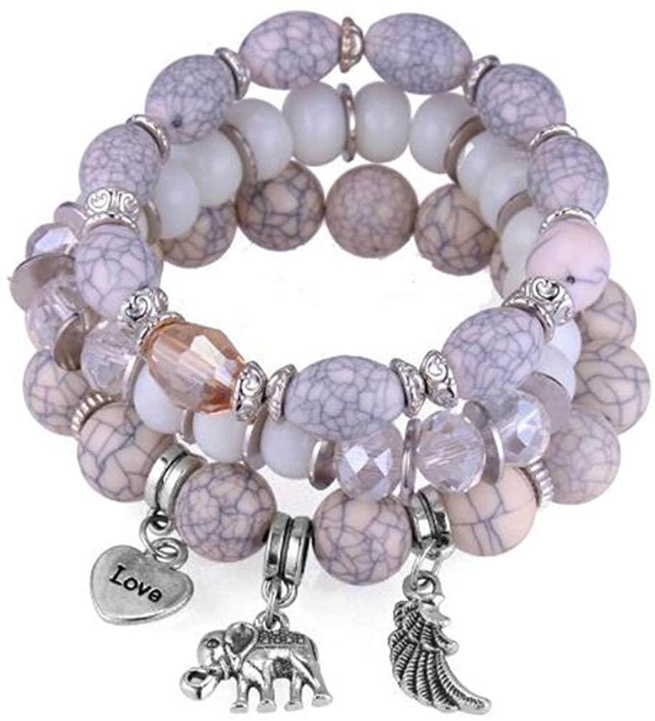 YAZILIND Multi-Layer Acrylic Beads Elastic Chain Bracelet Vintage Elephant Heart Pendant Bracelets