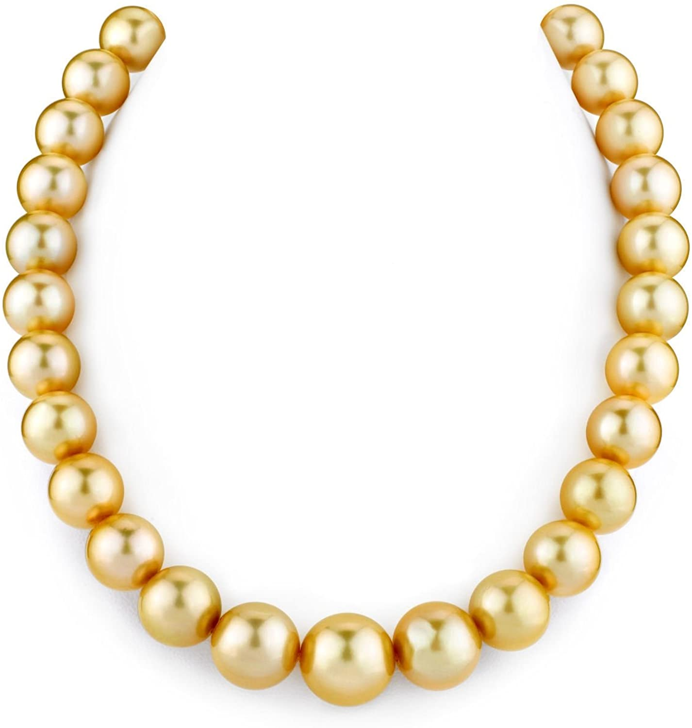 THE PEARL SOURCE 14K Gold 12-14mm AAAA Quality Round Golden South Sea Cultured Pearl Necklace, 17