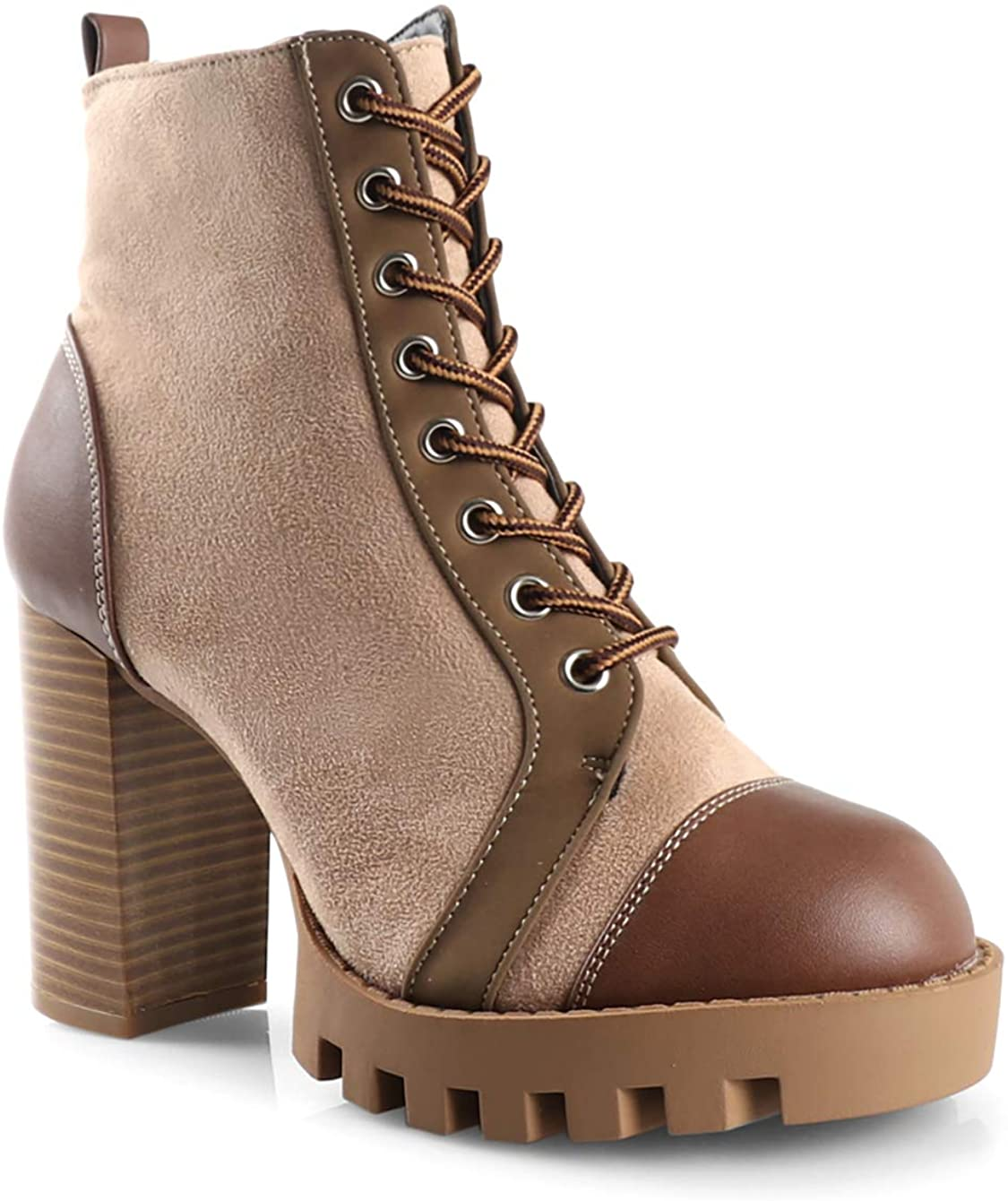 Women's Gloria Lug Sole Platform Chunky Lace up Ankle Bootie with Eyelets High Heel Boots