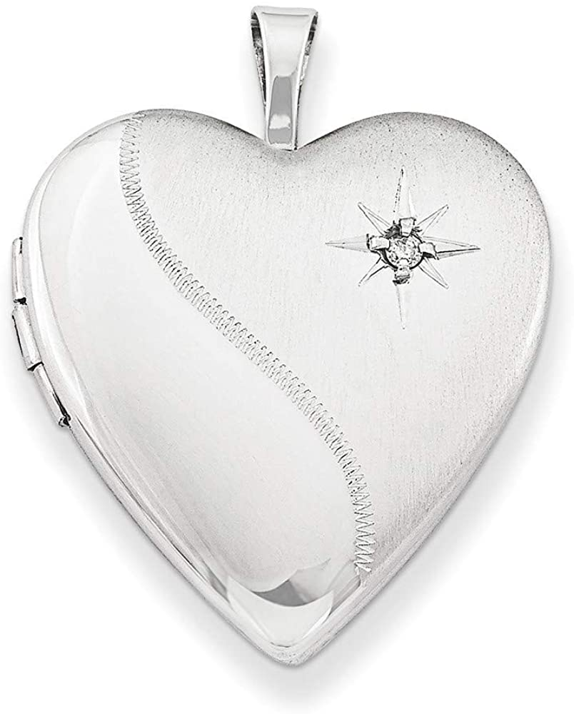 925 Sterling Silver Patterned Gift Boxed Spring Ring Not engraveable Polished and satin 20mm Diamond Love Heart Photo Locket Pendant Necklace Jewelry Gifts for Women