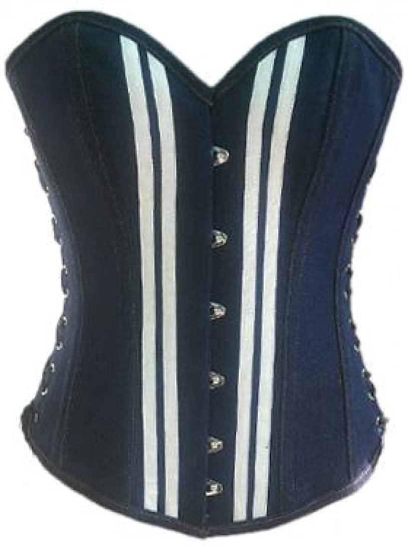Blue Denim White Strips Goth Steampunk Overbust Corset Waist Cincher Bustier Top