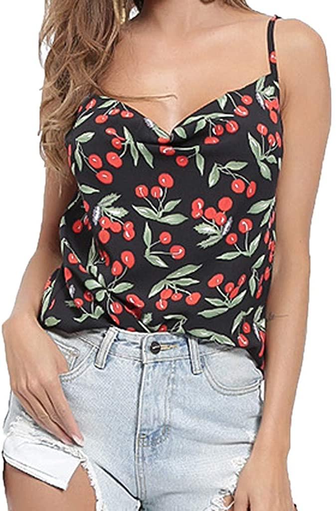 Fitfulvan Womens tops Open Back Vest Sleeveless Cherry Print Sling Cute Girl Charming Fashion Casual Wild t-Shirt Top