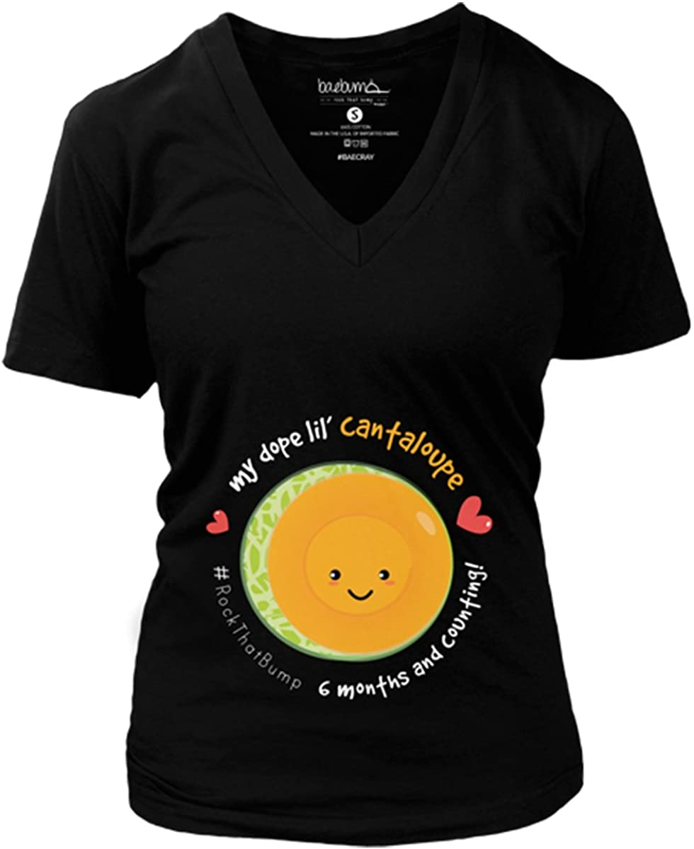 Bae Cray Maternity Shirts - Cantaloupe Deep V Tee - 6 Months/24 Weeks Pregnant - Monthly Pregnancy Milestone - $19.99