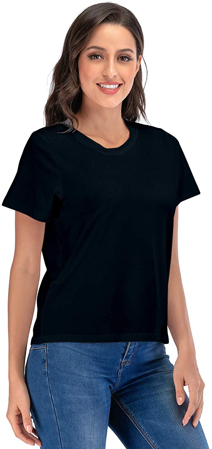 Womens Classic-Fit Short-Sleeve Round Neck T-Shirt Casual Tunic Summer Tops