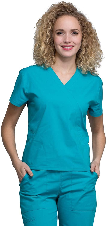 Cherokee Workwear Professionals Mock Wrap Scrub Top, S, Teal Blue