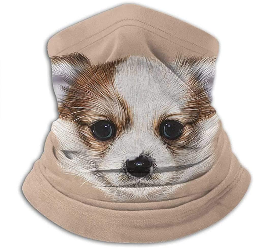 Neck Warmer Animal Neck Gaiter Sunblock Face Scarf Puppy Portrait Cute Little Furry Friend Dog Pet Graphic Art Warm Taupe Beige Light Caramel