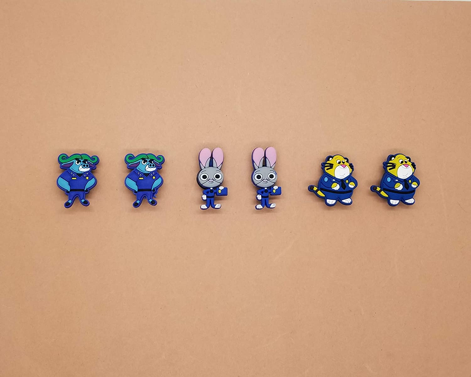 Zootopia Croc Shoe Charms Wristband Charms Shoe Lace Adapter Charms Generic Handmade Set of 6