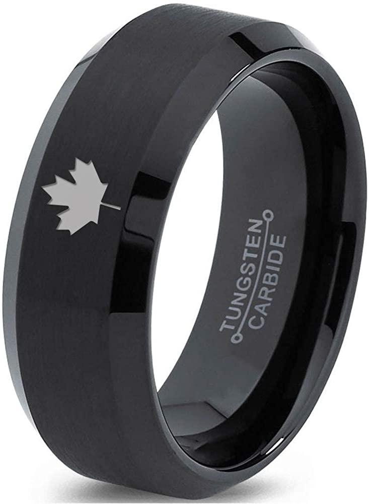 Canadian Maple Leaf Ring - Tungsten Band 8mm - Men - Women - 18k Rose Gold Step Bevel Edge - Yellow - Grey - Blue - Black - Brushed - Polished - Wedding - Gift Dome Flat