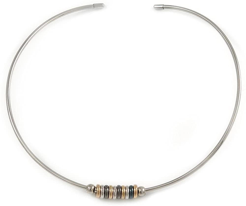 Avalaya Stylish Polished Silver Tone Bar Choker Style Necklace with Sliding Rings - Flex - Adjustable