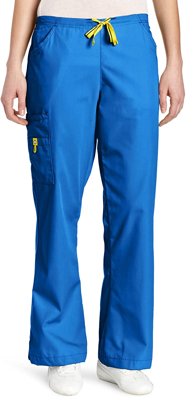 WonderWink Women's Flare Leg Cargo Pant, Royal, Large