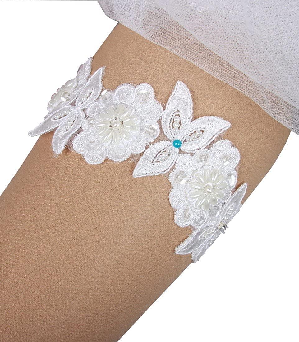 Miranda's Bridal Women's Ivory Lace Bridal Garters Wedding Garters