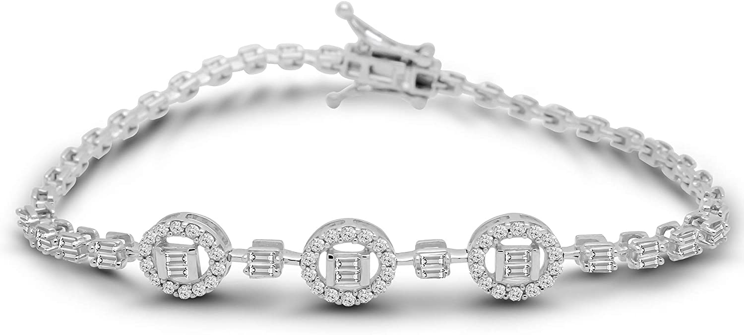 OMEGA JEWELLERY 14K White Gold Over Round & Baguette Shape Natural Diamond Three Oval Shape Cluster Tennis Bracelet For Womens 7