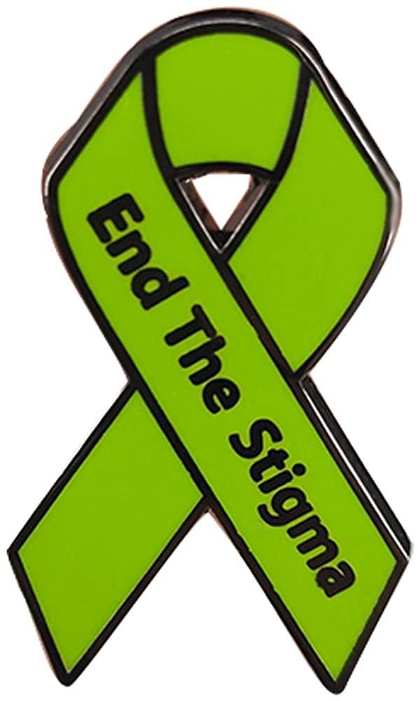 GuDeKe Stop End The Stigma of Mental Illness Pin Mental Health Awareness Ribbon Brooch