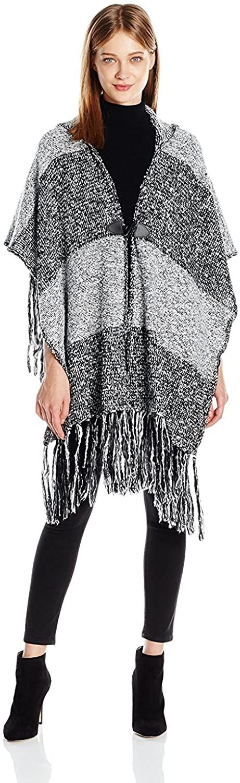 Steve Madden Women's Marled Knit Hooded Ruana