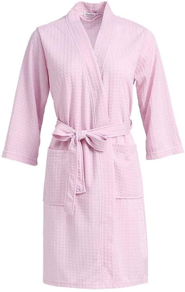 llwannr Bathrobe Robe Nightgown Sleep,Women Towel Bath Robe Bridesmaid Dressing Gown Quick Dry Long Waffle Lounge Bathrobe Sexy Robes Sleepwear Men Nightgown,Men Pink,M
