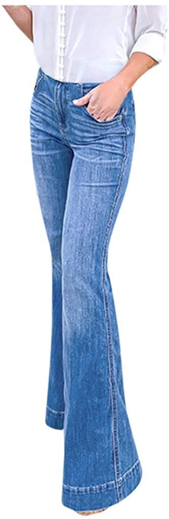 Womens High Rise Wide Leg Jeans, Vintage Flare Bell Bottom Raw Hem Denim Pants Morecome