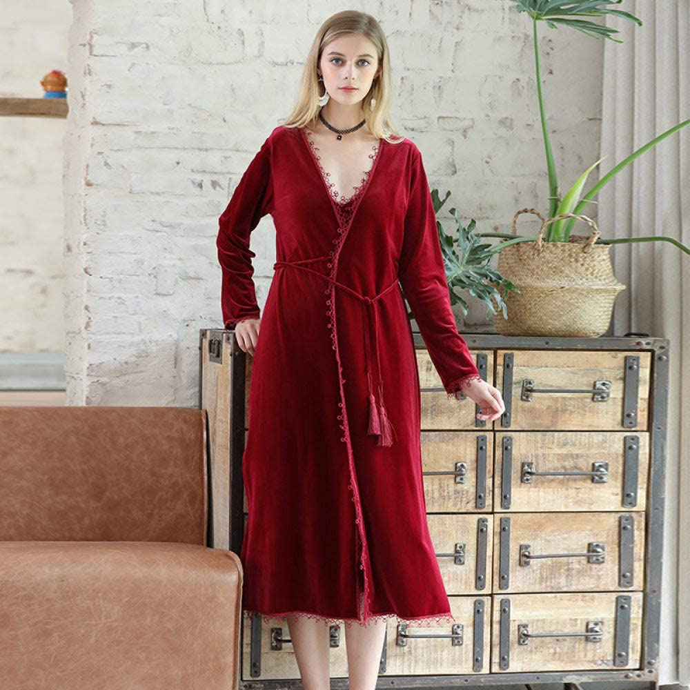 HONGYAOJIAJU Robes for Women, Lace Kimono Robes Ladies Wine Red Color Velvet Pajamas Sleepwear Womens Winter Nightgowns Wedding Bathrobe for Home Clothing Dressing Gown