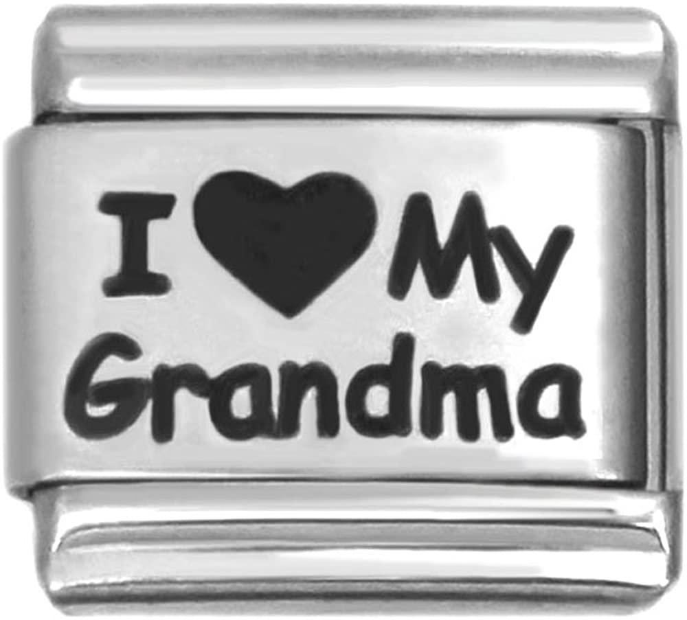 I love My Grandma Laser Italian Charm Stainless Steel Bracelet Link