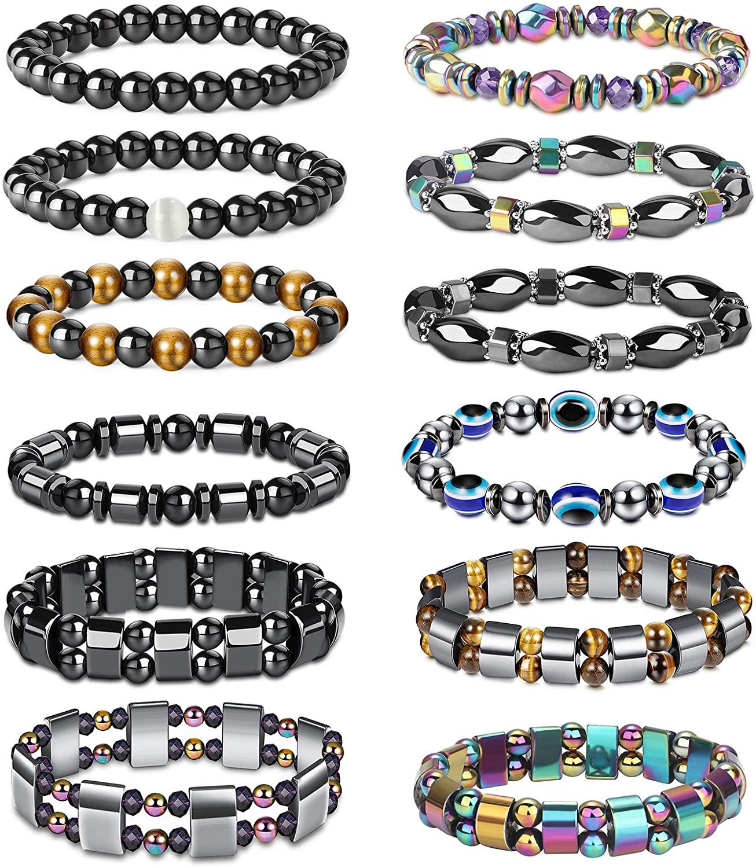 CASSIECA 12 Pcs Hematite Magnetic Bracelet for Men Women Reiki Bracelet Tiger Eye Rainbow Beaded Stone Bracelets Set