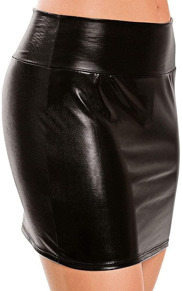 JSPOYOU Women Skirt Imitation Leather Lingerie Skirt Slim Buttocks Short Straight Mini Skirt