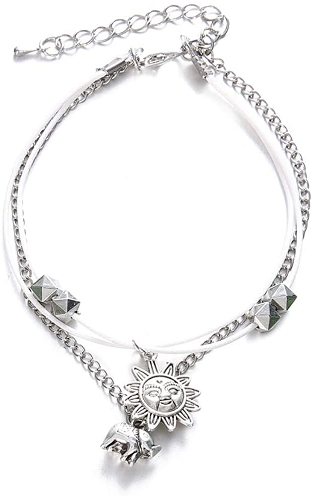 Sunflower Silver Bohemia Lucky Elephant Pendant Multi-layer Chain Ankle Bracelet Vintage Sun Foot Jewelry Chain Beach Accessories