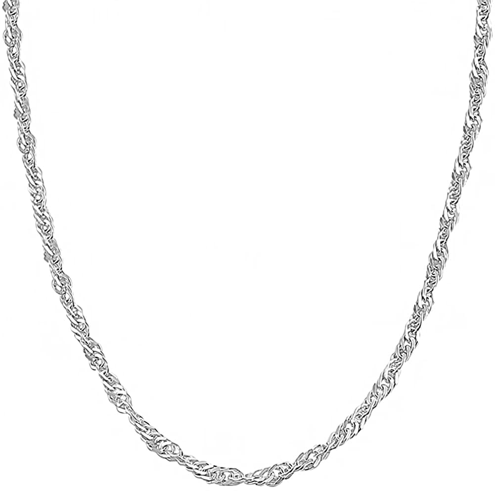 Kooljewelry Sterling Silver 2.75 mm Singapore Chain Necklace (14, 16, 18, 20, 22, 24, 30 or 36 inch)