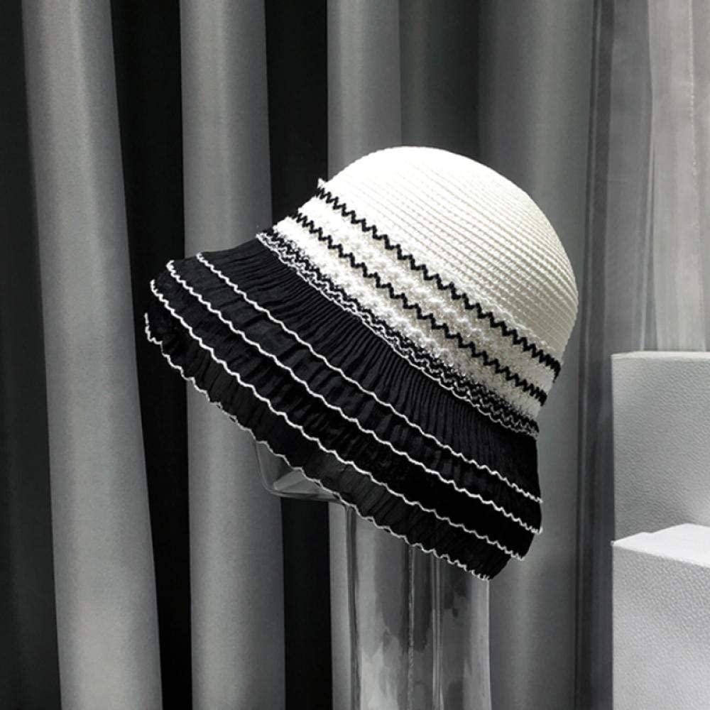 Summer Hepburn Style Vintage Design Yarn Side Straw Hat Solid Color Beach Holiday Beach Hat Elegant Woman's Sun Hat
