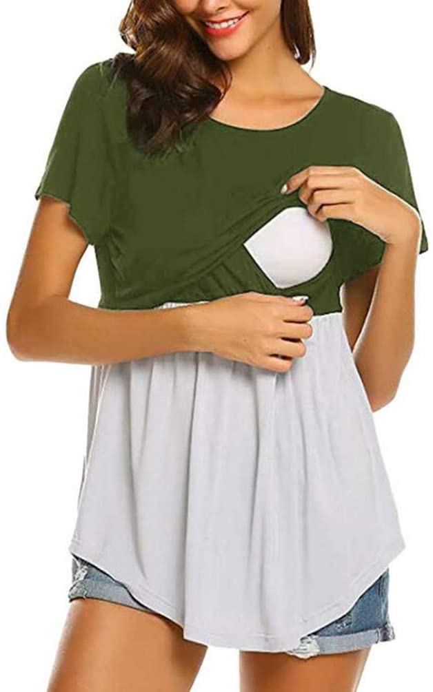 SHANGLY Summer Women Nursing T-Shirts Short Sleeve Pregnancy Breastfeeding Tops Casual Clothes,D,XL