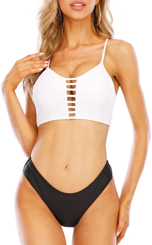Phurro Women Back Cross Lace Up Hollow Out Two Piece Swimwear Low Waist Bikini Set
