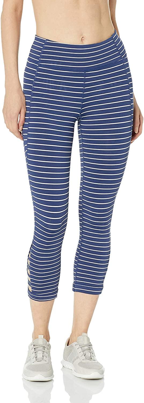 Calvin Klein Women's Coast Line Stripe Midrise Novelty Strap Crop Fitness Tight