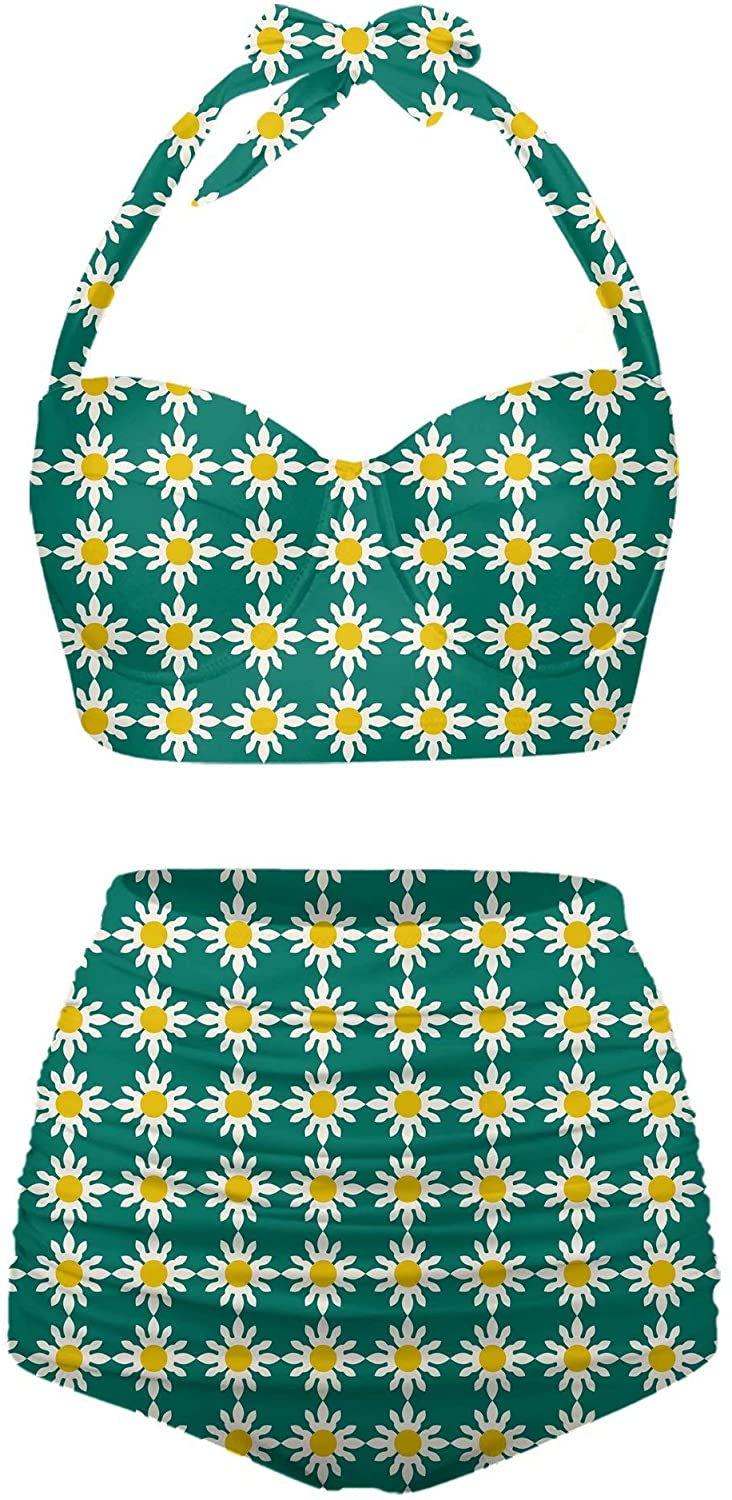 Womens Sunflower Print Sexy Vintage High Waisted Bikinis Halter Swimsuits Suits Top Bathing Sets