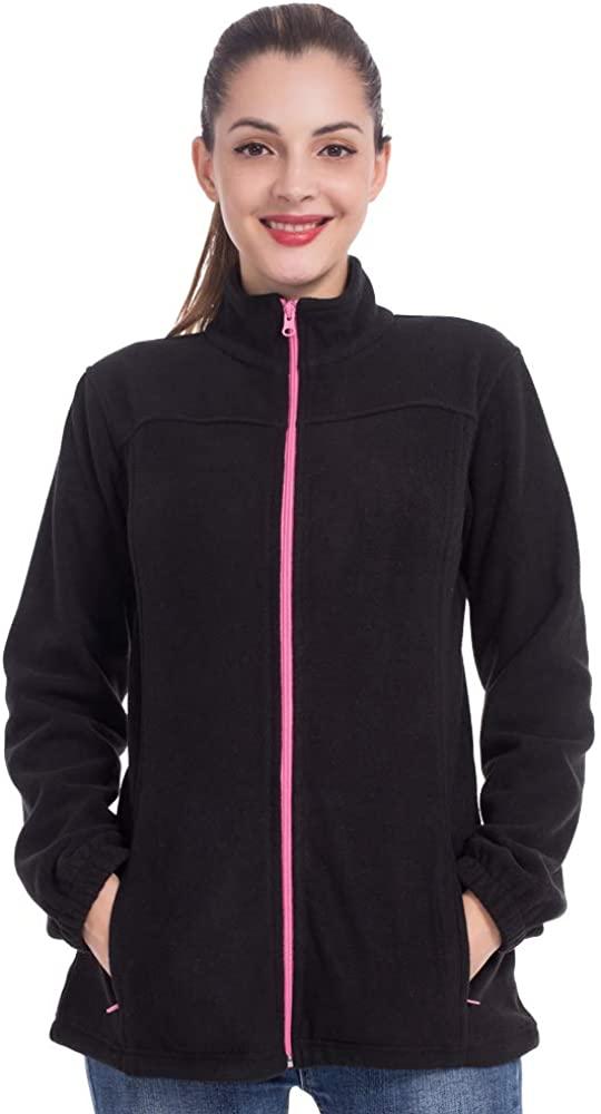 ZEALOTPOWER Fleece Jackets Women Polar Full Zip Winter Fall Coat Pockets Stand Collar