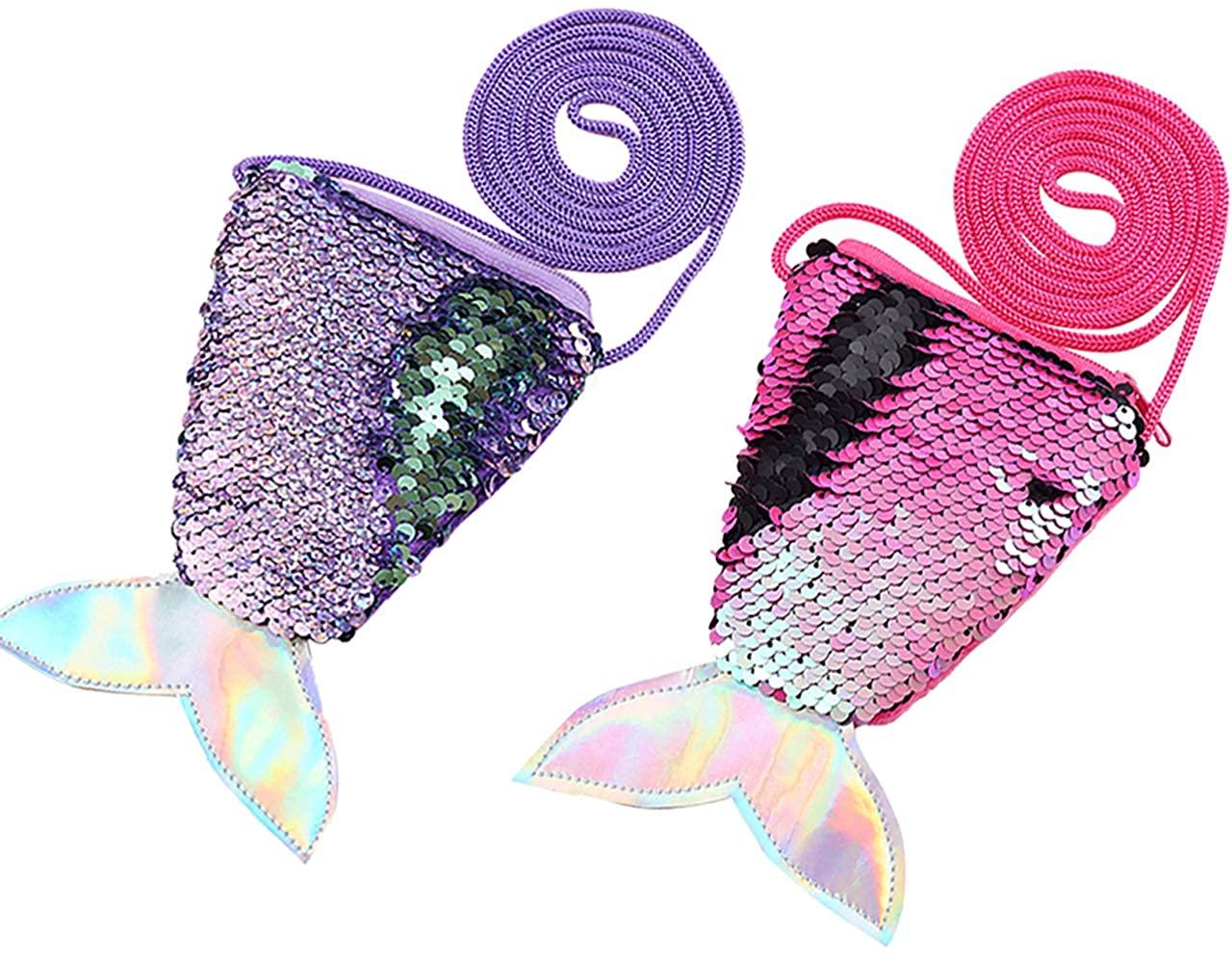 CHIC DIARY Small Mini Coin Purse Sequins Messenger Bag Crossbody Satchel