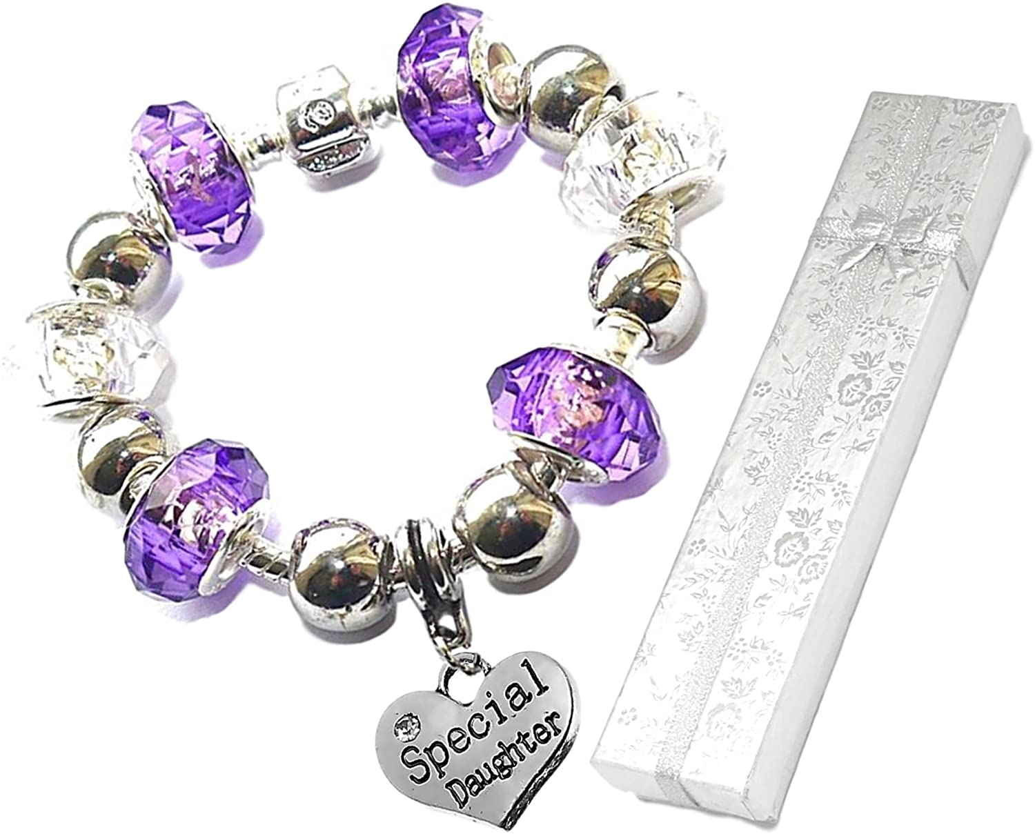 Charm Buddy Special Daughter Purple Silver Crystal Glass Pandora Style Charm Bracelet With Gift Bag