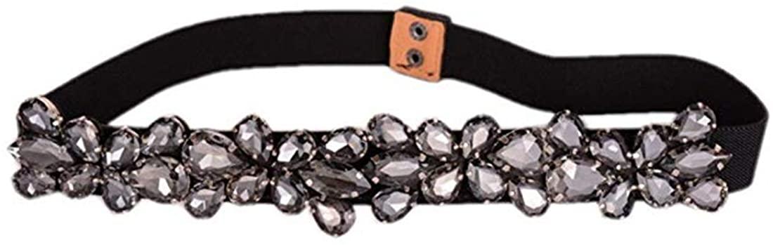 Globalwells Women floral rhinestone skinny Beaded Crystal elastic Stretch buckle Belts for Dress